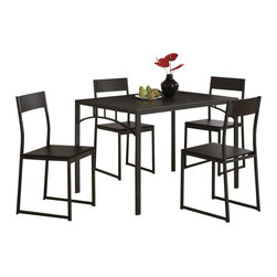 Adarn Inc. - Casual Cappuccino Clean Lines Sleek Straight Legs Dinettes 5 Piece Dining Set - Enhance your breakfast nook or dining space with this chic five-piece dining set. It is crafted with a deep cappuccino finish, giving it a modern look and feel. Including one rectangular table and four coordinating side chairs, it is ideal for smaller size rooms. The table features clean lines and sleek straight legs for a streamlined design. The four matching side chairs echo this styling, while also offering subtly curved backs for added visual dimension.