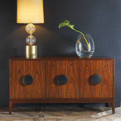 """Modern History - Modern History Home Three Door Italian Credenza - Mid-century modern style comes to life on the Italian three-door credenza. Oversize round pulls accent its chic, wood-grain design for a focal look in contemporary interiors. 61.5""""W x 18""""D x 32.5""""H; Wood; Black leather pulls"""