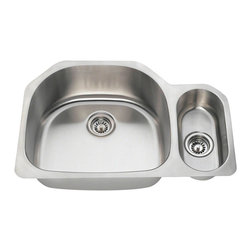 """MR Direct - MR Direct 3221 Offset Double Bowl Stainless Steel Kitchen Sink, Brushed Satin, 1 - The 3221L offset double bowl undermount sink is constructed from 304 grade stainless steel and is available in 18  gauge thicknesses. The surface has a brushed satin finish to help mask small scratches that occur over time and keep your sink looking beautiful for years. The overall dimensions of the 3221L are 32"""" x 21 1/4"""" x 9""""(L) x 5""""(R) and a 33"""" minimum cabinet size is required. This sink contains a 3 1/2"""" offset drain, is fully insulated and comes with sound dampening pads. As always, our stainless steel sinks are covered under a limited lifetime warranty for as long as you own the sink. Strainers not included."""