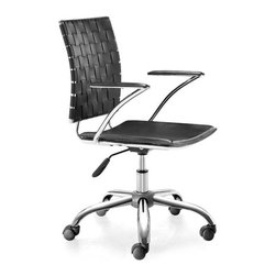 Zuo Modern - Criss Cross Office Chair Black - Add a sophisticated beauty to any space with our Criss Cross Office Chair. It is designed with a chrome-finished base and a woven backrest, the chairs have adjustable height and sturdy wheels for maximum convenience. This versatile seating solution is a perfect addition to your office or home