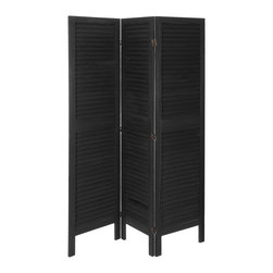 "Oriental Furniture - 5 1/2 ft. Tall Modern Venetian Room Divider - 3 Panels - Black - This traditional louvered room divider is a true classic that fits with any style of modern decor. Sturdy, durable, and stable, this wooden screen features elegant louvered slats for a refined, airy look. The finish has been hand-distressed for a well-loved ""antique"" appearance."