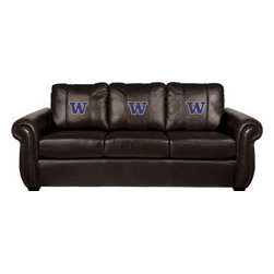 Dreamseat Inc. - University of Washington NCAA Chesapeake Brown Leather Sofa - Check out this Awesome Sofa. It's the ultimate in traditional styled home leather furniture, and it's one of the coolest things we've ever seen. This is unbelievably comfortable - once you're in it, you won't want to get up. Features a zip-in-zip-out logo panel embroidered with 70,000 stitches. Converts from a solid color to custom-logo furniture in seconds - perfect for a shared or multi-purpose room. Root for several teams? Simply swap the panels out when the seasons change. This is a true statement piece that is perfect for your Man Cave, Game Room, basement or garage.