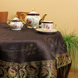 """Unique & DecorativeTablecloths - Dazzling """"Coffee Brown"""" 53"""" Round Tablecloth. Dupion Silk fabric.  Beautifully painted by hand in India."""