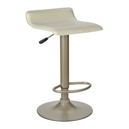 Winsome Trading, INC. - Winsome Wood 93829 Single Airlift Swivel Bar Stool, Beige - Winsomes Spectrum Swivel Airlift Stool with foot rest has a leather look PVC beige curved seat and an eggshell powder coated metal base. The stool adjusts from normal table height to counter height with the use of a lever.
