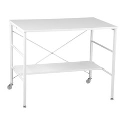 Eurø Style - Ida Desk in White and Chrome - This beautiful Ida Desk in White and Chrome by Eurø Style offers flexibility, sleek style and elegance. The desk features high gloss lacquered MDF top and shelf supported by durable chromed steel base.