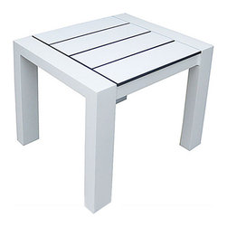 Harbour Outdoor - Piano Side Table - The fun, stylish, Piano Side Table by Harbour Outdoor is proof that good things come in small, and incredibly chic, packages. The modern side table is perfect to add fun and flavor to any outdoor space, be it a sprawling beachside deck or an urban city patio. Made with powder-coated aluminum, the modern, clean lines of the side tables frame are UV and scratch resistant, lightweight, and perfect to withstand the outdoors. The HPCL (High Pressure Compact Laminate) slats provide not only a fun, playful, distinctly modern and fashionable tabletop, but are also non-corrosive, frost and heat resistant, organic solvent resistant, biologically harmless, water resistant, insensitive to temperature change, abrasion resistant, and colorfast. Rain or shine, have the best looking outdoor party with the Piano Side Table.