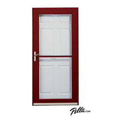 Pella® Fullview storm door in Cranberry - Pella Fullview storm doors feature interchangeable full glass and full screens — use the one you want to control your light, view and ventilation.