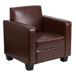 Flash Furniture - Flash Furniture Grand Series Brown Leather Chair - This comfortable, well-made chair is sure to provide you with years of great seating. The tight back design offers firm support for those with back problems. The chair features a streamline design that will give your home a chic look. This chair is a great option whether this is your main source of seating or used for lounging. This chair is perfect for getting furniture between narrow openings due to the fact that the furniture is shipped unassembled.
