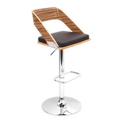 Lumisource - Adjustable Barstool in Brown - Footrest and hydraulic system. Solid chrome base. Made from PU, chrome, foam and wood. Seat height: 26.5 in. to 31.5 in.. Overall: 19 in. W x 18.5 in. D x 36.5 in. - 41.5 in. H (20.50 lbs.). Assembly InstructionsSipping umbrella drinks on a Caribbean island paradise Aah! When you sit in the Vuno Barstool, you will feel the warm ocean breeze and the light of the summer sun. These bent wood barstools adds contemporary flair to the traditional wood barstools. Perfect for your kitchen or bar!