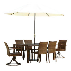 Panama Jack St Barths 7 Piece Rectangular Dining Swivel Chair Set
