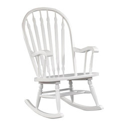 Carolina Cottage - Hand Finished Rocker w Contoured Seat - Beautiful 3 step hand finish with rubbed edges for a worn unique look. 100% Hardwoods. Contoured seat. Minimal assembly required. Seat: 22 in. W x 19 in. D x 15 in. H. Arms: 15.25 in. L x 2 in. W x 10 in. H. Total: 30.5 in. W x 24.25 in. D x 40 in. H (21 lbs.)The Hudson Rocker has a contoured seat for extra comfort. The runners are extra long for smoother rocking action. This chair is made from solid hardwoods.