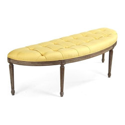 Zentique - Zentique Louie Curved Bench - Yellow fabricLimed Grey OakTufted seat