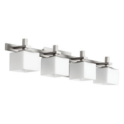 Joshua Marshal - Four Light Satin Nickel Satin Opal Glass Vanity - Four Light Satin Nickel Satin Opal Glass Vanity