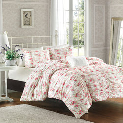 Madison Park - Madison Park Avery 4 Piece Duvet Cover Set - The Avery duvet cover set is where fun meets comfort. The face of this duvet cover features a 200 thread count cotton percale ruched fabric with a delicate floral design that makes this collection appear billowy and soft, while seams down the length of the duvet cover to provide structure and give the illusion of a scalloped edge to the end of the bed. This duvet cover is made from 100% cotton and the reverse is a soft, brushed micro-fiber; making it eye-catching on the top and provide that comfortable feeling you need on the back. Duvet and Sham face: 100% cotton 200TC printing; back 180TC cotton rich cross weave Pillow cover: 180TC cotton cross weave cover with poly filling