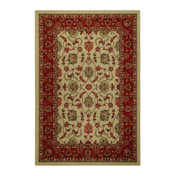 None - Rubber Back Ivory Traditional Floral Non-Skid Area Rug (5' x 6'6) - This richly printed area rug features a classic floral print in vivid ivory tones for a traditional touch to any room. Designed to be stain resistant,this rug features a non-skid rubber backing,alleviating the need for a rug pad.