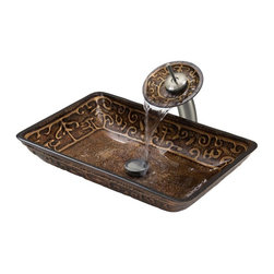 Vigo Industries - Scratch Resistant Vessel Sink and Faucet Set - The VIGO Rectangular Golden Greek glass vessel sink and waterfall faucet set is like an ancient masterpiece coveted by all. No two sinks are identical.