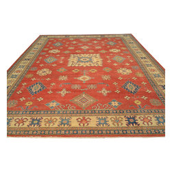 Geometric Design Red Kazak 10' x 15' Hand Knotted Oriental Rug 100% Wool Sh17632 - Our Tribal & Geometric hand knotted rug collection, consists of classic rugs woven with geometric patterns based on traditional tribal motifs. You will find Kazak rugs and flat-woven Kilims with centuries-old classic Turkish, Persian, Caucasian and Armenian patterns. The collection also includes the antique, finely-woven Serapi Heriz, the Mamluk Afghan, and the traditional village Persian rug.