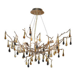 Elk Lighting - Bijou Six-Light Silver Leaf Chandelier - Hand-cast in Portugal of solid bronze, the Bijou collection imitates the sheer power and mystique of nature. Capturing every angle and random movement of branches on a tree, this series offers pure delight to the senses. The realistic branch castings are finished in hand-applied Silver Leafing adorned with blown glass drops of various neutral hues. Elk Lighting - 1721/6