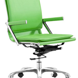 ZUO - Zuo Lider Plus Office Chair Green - Normally function over style rules with office chairs. This color conscious ergonomic swivel chair on wheels comes in white, green or the fabulous purple. A padded back and seat cushions, plus neoprene arm pads and a locking tilt adjustment, created so you you can function in style!