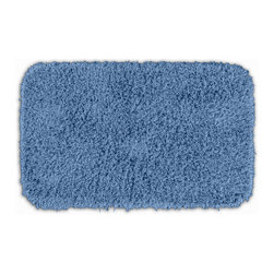 None - Quincy Super Shaggy Cool Blue Washable 24x40 Bath Rug - Jazz up the bathroom, shower room, or spa with a bright note of color while adding comfort you can sink your toes into with the Quincy Super Shaggy bathroom collection. The blue rug is created from soft, durable, machine-washable nylon.