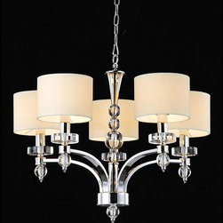 None - 5-light Chrome Chandelier - Light your home in elegant style with this brilliant 5 light chrome chandelier. This stunning light fixture features a striking chrome finish,complete with beige fabric shades and a 40 inch chain for additional height and versatility.