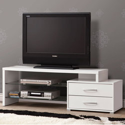 Coaster - 700892 TV Console, White - Ready to accommodate any size room, these contemporary-styled TV consoles are available in two sizes. With a sleek design and plenty of storage space, these TV consoles offer open storage space with two tempered glass shelves and two drawers for staying organized and hiding clutter.