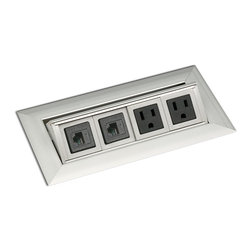 PCS36B - Medium Flip-Up Grommet - PCS36B has two electrical outlets rated 15A/125VAC and two Category 5e data modules.