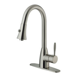 Vigo - Vigo Stainless Steel Pull-Out Spray Kitchen Faucet with Deck Plate - Purchase a Vigo pull-out kitchen faucet for optimal spout reach and height.