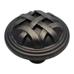 GlideRite - GlideRite Round Braided Pewter 1.25-inch Cabinet Knobs (Pack of 10) - Give your ...