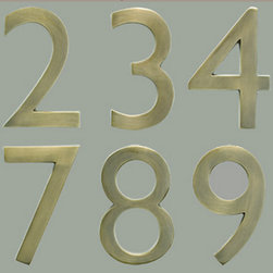 Antique Brass House Numbers - The Solid Cast Brass 4 In. Floating House Numbers offers an elegant hand finish in satin nickel. The house numbers can be mounted either flush with the wall or you can leave the mounting screws partially out of the holes for a floating number effect. No holes or unsightly screw heads are shown.