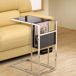 None - Black Chrome Finish Snack Side End Magazine Table - Make life simpler with this magazine side table standing next to your favorite chair. This black and chrome piece features a space to store books and magazines, and the tabletop is perfect for enjoying a tasty snack while watching TV.
