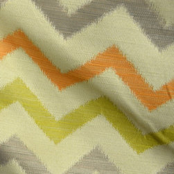 Richloom - Whitaker Cactus Polyester Chevron Grey Orange Green Fabric By The Yard - Richloom fabric Whitaker in the color Cactus is anew spin on the chevron fabrics. Polyester fabric great for upholstery, bedding and pillows.