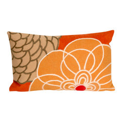 "Orange Disco Print 12"" X 20"" Throw Pillow - This wonderful indoor / outdoor decorative throw pillow looks great in living rooms or patios or wherever you want a dash of color. Made of 100% polyester microfiber. The cover has a zipper closure so you can take out the fiberfill inner pillow for hand-washing if you need to. The pillow measures 12 inches by 20 inches."