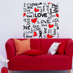 ColorfulHall Co., LTD - Kids Wall Decals I Love You Love Puzzle With Red Heart Love - Kids Wall Decals I Love You Love Puzzle with Red Heart Love
