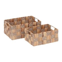 Benzara - Wicker Basket with Spaciously Designed - Set of 2 - Perfect to carry and store your home essentials, this metal wicker baskets set is a great purchase. It is made from high quality metal and enables to last for a long time. The metal is woven with great expertise to form the wicker basket pattern and allows carrying of heavy items without any damage or wear to the basket. The base portion is broad and ensures optimal balance when placed down in any surface. The metal wicker basket is efficient and durable and serves your carrying purposes to the fullest. The two handles at each end offer convenient carrying of the items. The basket comes with a lot of space to hold many items at a time and can even be dragged easily without any restriction.