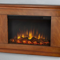 Real Flame - 38.4 in. Wall Hung Electric Fireplace - Includes mantel, firebox with remote control, wall mounting bracket, anchoring hardware. Transitional styling. Plugs into any standard outlet. 1400 watt heater. Rated over 4700 BTUs per hour. Programmable thermostat with display in fahrenheit or celsius. Ultra bright LED technology with five brightness settings. Digital readout display with up to nine hours timed shut off. Dynamic ember effect. Plugs into any standard wall outlet. UL and ISTA 3A certified. Warranty: Ninety days on mantel and one year on electric firebox. Made from solid wood, veneered MDF and powder coated steel. Pecan finish. Assembly required. 38.4 in. W x 6.1 in. D x 26.1 in. H (48.5 lbs.)The Jackson wall fireplace is the next generation of electric fireplace.