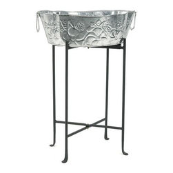 Achla - Wrought Iron Folding Floor Stand - Made of Wrought Iron. Black powder coated stand. Warranty: 90 days. 22 in. L x 22 in. W x 29 in. H (16 lbs.)Prop up your tub with these Wrought Iron stands from Achla Designs. Designed to fold for easy storage. Fits the flowing Achla tubs: C-50, C-55, and C-70.