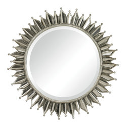 Sterling Industries - Splash Framed Mirror - This spectacular mirror has a kingly sunburst frame.  A perfect mirror for any elegant setting.  The frame is made of hand cut mirror that has been angled to refract light in all directions.  A wonderful mirror to add for light to any environment.