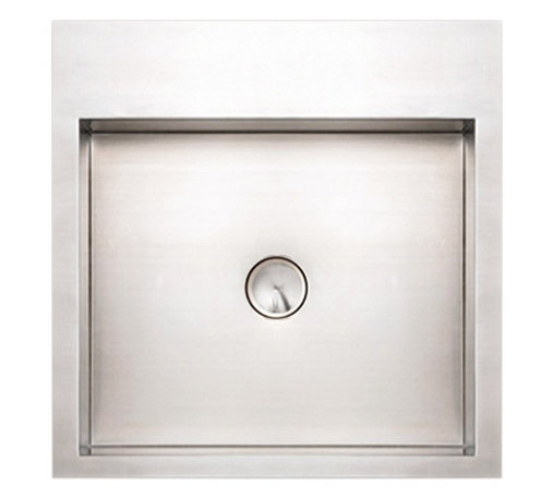Whitehaus - Noah's Square Wall Mount Bath Sink - Zero radius corners. 18/8 chrome and nickel content. 2 in. center drain opening. Made from 16 gauge stainless steel. Inside: 17.75 in. L x 12.63 in. W x 4.38 in. H. Outer: 17.75 in. L x 17.75 in. W x 5 in. H (17 lbs.). Warranty. Care and Maintenance