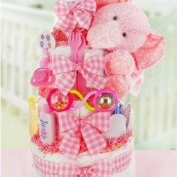 Gingham & Giggles Three Tier Diaper Cake - Girl