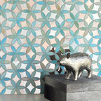 Fiona Jewel Glass and Mirror Mosaic - Fiona in Aquamarine Jewel Glass and Dusk Mirror.