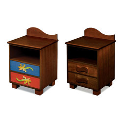 "Room Magic - Little Lizards Nightstand, Chocolate - This attractive quality nightstand made of solid hard wood has a wave shaped back piece, and storage shelf for stowing all your childrens favorite storybooks and toys. Two drawers have reversible drawer fronts that have a colorful stain finish on one side and and Chocolate finish on the other, allowing you to easily change the look when your child outgrows the colorful stains. Includes 2 natural waves knobs and 2 adorable lizard knobs.  18""L x 16""D x 29""H"