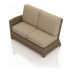 Forever Patio - Cypress Outdoor Wicker Left Arm Sectional, Spectrum Mushroom Cushions - The Forever Patio Cypress Modern Outdoor Wicker Sectional Left Arm Facing Loveseat with Beige Sunbrella cushions (SKU FP-CYP-LALS-HR-SM) seats up to 2 people, featuring a contoured armrest to serve as an end to your Cypress sectional. The heather-colored resin wicker is UV-protected, and features subtly muddled tones for a varied, natural look. Each strand of this outdoor wicker is made from High-Density Polyethylene (HDPE) and is infused with its rich color and UV-inhibitors that prevent cracking, chipping and fading ordinarily aused by sunlight. This outdoor sectional piece is supported by thick-gauged, powder-coated aluminum frames that make it more durable than natural rattan. This sectional piece includes fade- and mildew-resistant Sunbrella cushions for added comfort to your outdoor area.