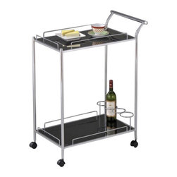 "Acme - Mace Chrome Plated Metal and Black Tempered Glass Shelves Tea Serving Cart - Mace chrome plated metal and black tempered glass shelves tea serving cart with casters. Measures 27"" x 18"" x 36""H. Some assembly required."