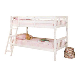"Acme - Homestead White Finish Wood Twin / Twin Convertible Bunk Bed Set - Homestead white finish wood Twin / Twin convertible bunk bed set. This set features a twin over twin bunk bed set that can be used as 2 single twin beds later or can be stacked as shown. Measures 82"" x 42"" x 61""H. Some assembly required."