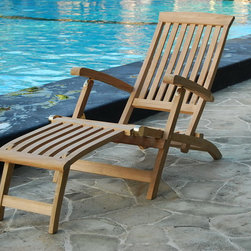 Teak Outdoor Loungers - Newly designed teak steamer. This steamer is the most ergonomic lounger. It is designed for the human bone structure in the mind of the artisans. Thus you can let your legs and back rest upon it with the highest comfort level. Pre-assembled. Folds flat for easy storage. Four Reclining positions