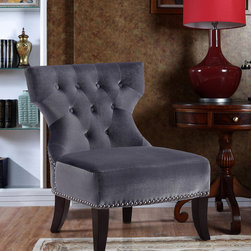 WyndenHall - Waterloo Grey Tufted Accent Chair - The Waterloo Chair has a classic,curvaceous shape made modern by its tapered,curved legs and beautiful velour upholstery fabric. This accent chair features pewter nail head detailing and tufted back.