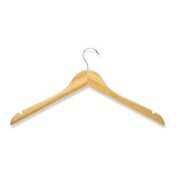 5-Pack Wood Shirt Hanger- Bamboo - Honey-Can-Do HNG-01531 5-Pack Bamboo Top Hanger, Natural. Beautiful, bamboo clothes hanger is contoured to keep shirts, dresses, and jackets perfectly wrinkle-free. Features a 360 degree swivel rod hook to hang items easily on any closet rod, towel bar, or standard size door. A gorgeous, yet economical upgrade to any closet.
