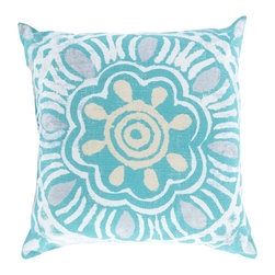 """Surya - Floral Square Decorative Pillow RG-135 - 20"""" x 20"""" - Fashionable floral and scintillating sunburst work together in perfect unison to create this pristine pillow! Featuring floral patterns in tantalizing turquoise intermixed with vibrant orange sunbursts; this piece defines upbeat, cheerful design. This pillow contains a Virgin Poly Styrene Bead fill providing a reliable and affordable solution to updating your indoor or outdoor decor."""