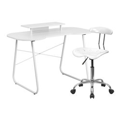 Flash Furniture - Flash Furniture White Computer Desk with Monitor Stand and Tractor Chair - This colorful desk and chair combination will liven up any room! The spacious desk offers ample space for writing, reading, homework or browsing on your laptop. The small cutout offers space for you to pull your chair close up to the desk surface. This colorful combination will offer a comfortable and contemporary setting.